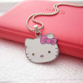 Sweet Hellokitty Big face Pink Bow Metal Pendant Necklace Birthday
