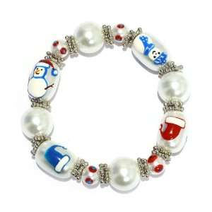 White Pearls With Hand Painted Snowmen And Hats; Stretches To Fit Most