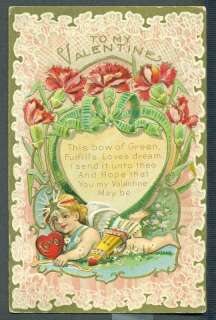 TO MY VALENTINE Cherub Heart Flowers FULFILLS LOVES DREAM Vintage