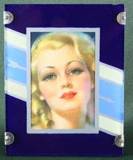 ART DECO MACHINE AGE 1930s STYLISH MINIATURE REVERSE PAINTED FRAME