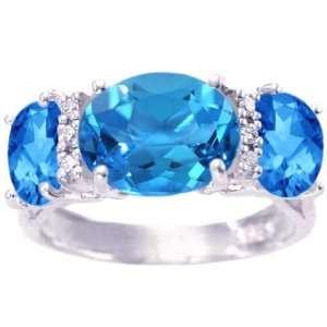 14K White Gold Oval Three Stone Ring With Diamonds Swiss