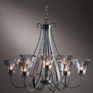 Sweeping Taper Nine Arms Chandelier With Water Glass  R080683 Finish