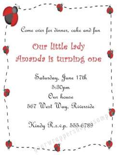 20 CUTE Custom LADYBUG Birthday Baby Shower Invitations
