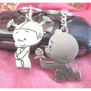 Couple Love Keychain Key Ring Little Boy and Little Girl
