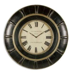 Rudy Brown Leather London Ivory Face Round Wall Clock