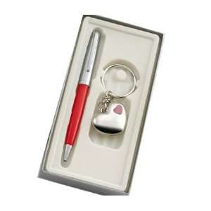 Key Ring with Red LED Light with Chrome Red Ballpoint Pen in Gift Box
