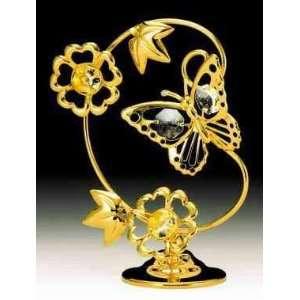 Butterfly 24k Gold Plated Swarovski Crystal Figure Leaf