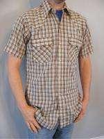 vtg WESTERN PEARL SNAP shirt cowboy M double snap plaid