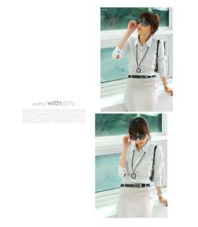 / Stylish Stripe Shirt Blouse, Chic, Career Woman, Korea / WITHSTORY