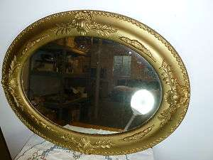 Beautiful Antique Gesso Oval Frame with Mirror Old Paint Wonderful