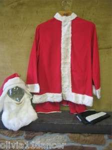 Vtg mid century santa suit costume st nick flannel 50s