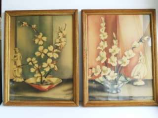 1920s era ART DECO wood FRAME prints PICTURES still life FLOWER