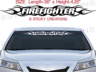100 FIREFIGHTER Windshield Decal Flame Sticker Graphic