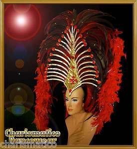 CHARISMATICO Red SAMBA CABARET CARNIVAL DRAG QUEEN DANCE Feather BOA