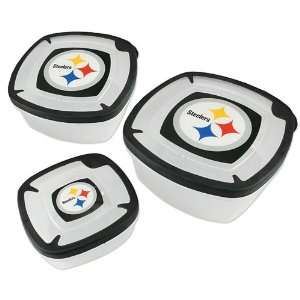 Pittsburgh Steelers Plastic Food Storage Container 3pc Set