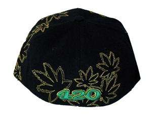 Weed Pot Leaf Cannabis Hat Cap Black Green Gold 420 Chronic Leader