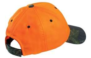 SAFETY ORANGE / CAMOUFLAGE CAP, HAT, MOSSY OAK BRIM