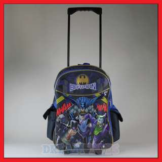 16 Batman Rolling Backpack Roller/Bag/Wheeled/Boys