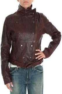 ARMANI JEANS woman Leather biker jacket BROWN with studs size 44 Eu 8