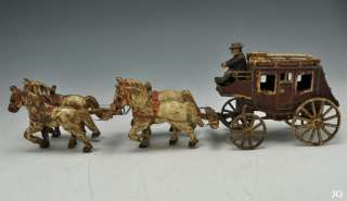 Old Fashioned Painted Cast Iron U.S. Mail Horse & Carriage Toy