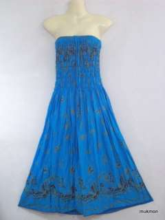 New Butterfly Casual Cocktail Long Skirt & Maxi Dress 2 in 1 Blue,Free