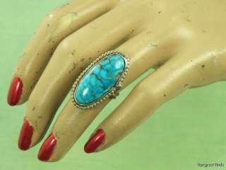SOUTHWESTERN TRIBAL 925 STERLING SILVER & BRIGHT BLUE TURQUOISE RING