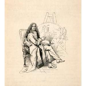 1855 Wood Engraving Charles Le Brun French Artist Easel