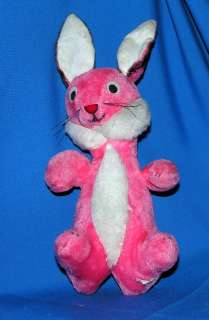 SOOO CUTE, MINTY 1960S VTG PINK PLUSH STRAW STUFFED EASTER BUNNY