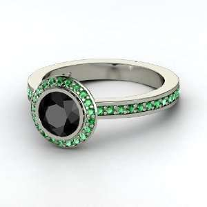 Roxanne Ring, Round Black Diamond 14K White Gold Ring with