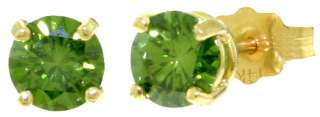 GAT 14K. SOLID GOLD STUDS EARRINGS WITH 1.0 CT. NATURAL GREEN DIAMONDS