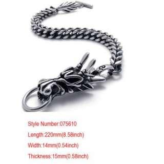 Cool Men Silver Dragon Stainless Steel Bracelet Bangle Chain Gift+Box
