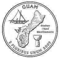 GUAM Quarter Cut Coin Silver Necklace Charm Pendant