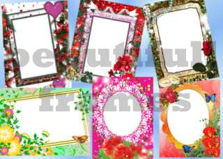 DIGITAL BACKGROUNDS / PHOTO FLORAL FRAMES / TEMPLATES , bff ,love