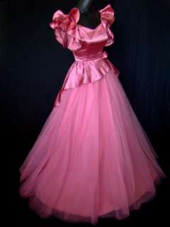 VTG 60s Pink Satin & Tulle Peplum Ball Gown Party Dress XS