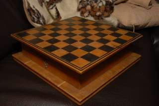 OLD 1920s? HEAVY WOODEN CHECKERS, CHESS BOARD ANTIQUE VINTAGE 32x32cm