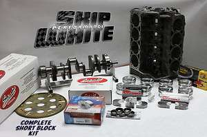 SBC CHEVY 421 COMPLETE SHORT BLOCK KIT FULLY FORGED CRANK, RODS
