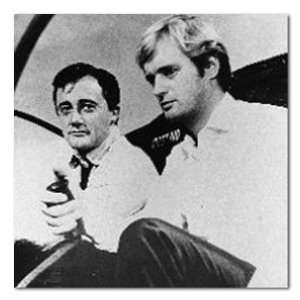 Robert Vaughn David McCallum The Man from U.N.C.L.E. Helicopter B&W