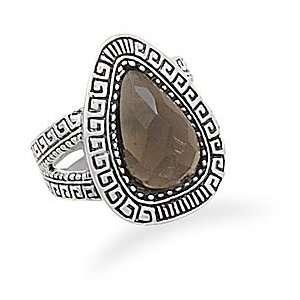 Smoky Quartz Ring With Greek Key Design Edge and Band   Size 7