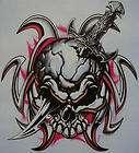biker skull with dagger in skull shirt