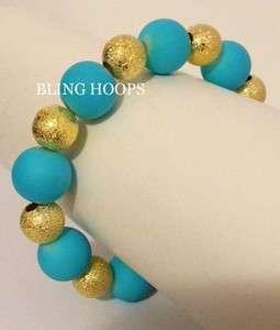 Sky Blue Gold Bead Bracelet Basketball Wives Poparazzi Hip Hop