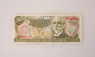 Description Costa Rica Cincuenta Colones $50 Bill Note Money 1993