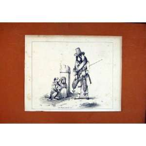 Dog Hound Pet Sketch Drawing Antique Fine Art C1831: Home