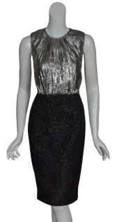 MICHAEL KORS Silver Metallic Fitted Dress $1895 6 NEW
