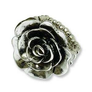 Silver tone Antiqued Flower Stretch Ring/Mixed Metal Jewelry