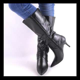 NEW BLACK BELTED KNEE HIGH HEEL WOMENS BOOTS SIZE 11