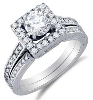 14K White Gold Diamond Engagement Ring Wedding Band Set (1.5 cttw., G