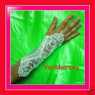 Ivory Satin Lace Fingerless Wedding Bridal Long Gloves