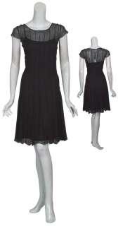 CALVIN KLEIN Sheer Black Silk Cocktail Eve Dress 8 NEW