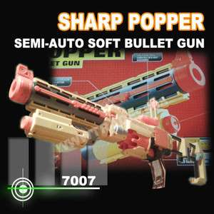 SHARP POPPER Semi Auto soft bullet Gun 10 Darts + Free Gift 10 Bullet