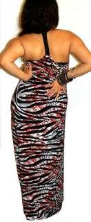 TIGER CHEETAH LOW CLEAVAGE HALTER LONG MAXI DRESS 1X 2X 3X